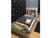 Single White Malm Bed with 2 under bed drawers