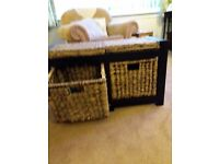 "Hall shoe box tidy and seat. Dark wood with two wicker drawers Size 30.5""long x 12""deep x 18""high."