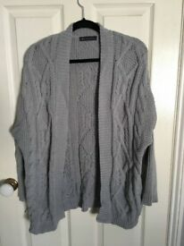 M&S Grey Cable Knit Cardigan UK12