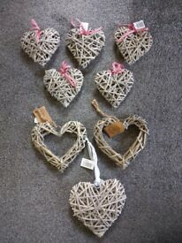 8 Decorative Willow Hanging Hearts