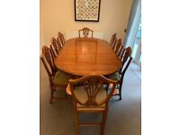 Reproduction Yew Extending Dining Table with 8 chairs