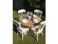 Beautiful Solid dining table & 4 high Backed Chairs
