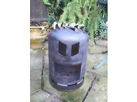 Gas bottle log burner garden heater