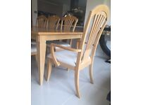 Solid oak Extending Dining table with 8 chairs