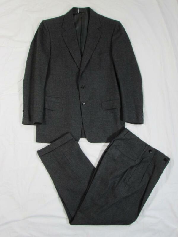 Vtg 50s 2 Pc Gray Drop Loop Wool Suit Jacket & Pants Hollywood Waist VLV
