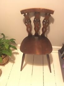 Beautiful Antique Wooden Carved Botanical Chair