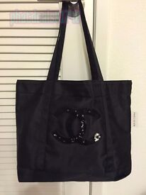 Chanel VIP gift bag black sequined shopping tote