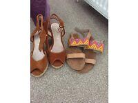 Tan wedges & flat sandals