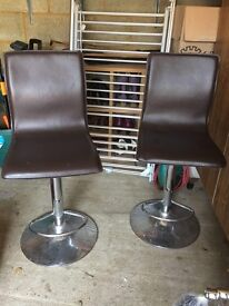 2 Brown leather bar stools