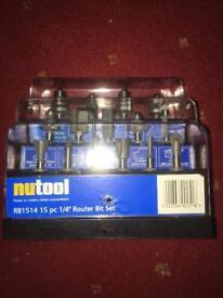 "Nutool 15 pc 1/4"" Router Bit Set"