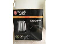 Russell Hobbs Cambridge brushed stainless steel kettle - brand new - boxed.