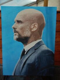 Large Popart painting of 'PEP GUARDIOLA' MCFC Manager