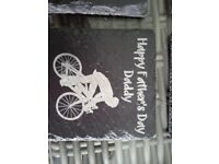 4 Father's Day Black Slat Coasters