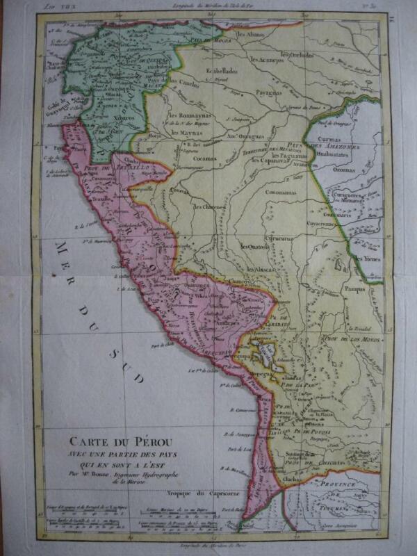 1780 - BONNE - Map PERU ECUADOR BOLIVIA