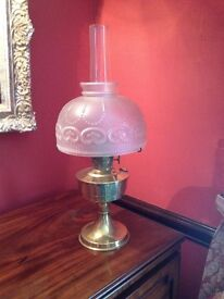 Antique Oil Lamp with unique opaque glass shade