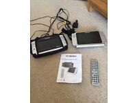 Dual screen portable DVD players (for in car use) with remote control