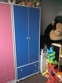 Boy blue tall wardrobe with two drawers underneath