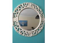 White ornate round mirror. Collect darlington.