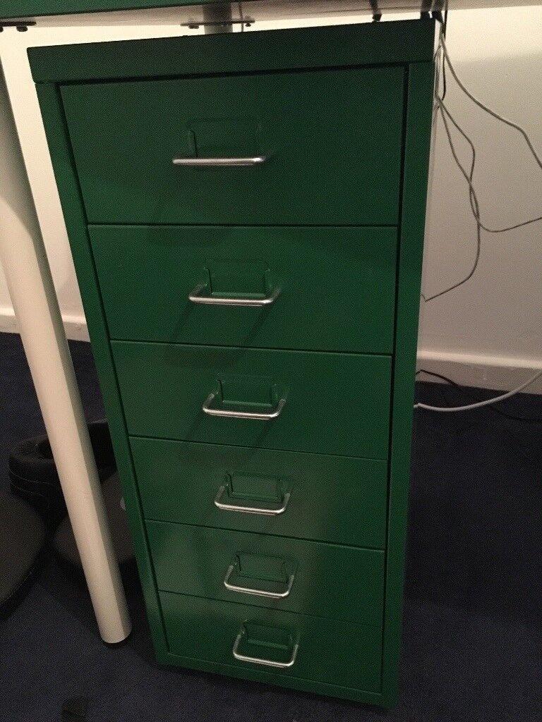 Ikea Helmer Green Small Metal Filing Cabinet