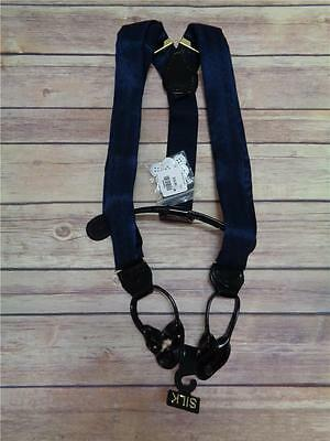Mens Wearhouse 100  Silk Navy Blue Suspenders   Braces Nwt   Extra Buttons