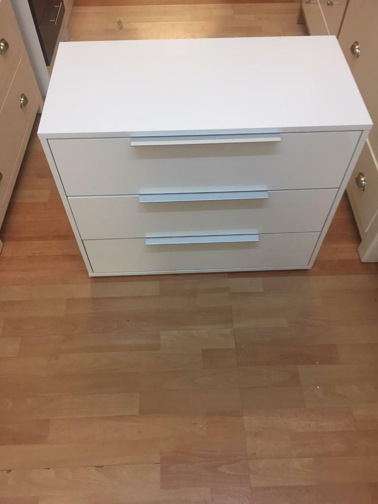 Hygena Bergen 3 Drawer Chest - White Gloss