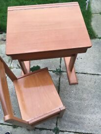 Child's wooden desk & chair