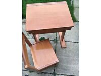 Child's wooden desk & chair