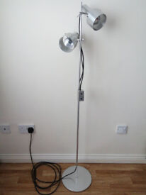 Silver Twin Head Spotlight Reading Floor Lamp