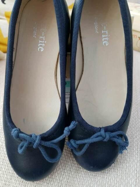Start Rite Francesca Girls Leather Slip On School Shoes Flats Navy Blue