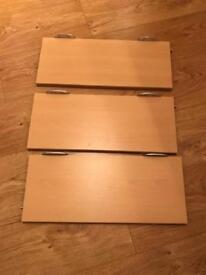 Wooden shelves x3