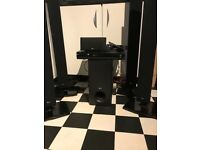 Surround sound system , DVD player , 6 speakers various sizes and remote control