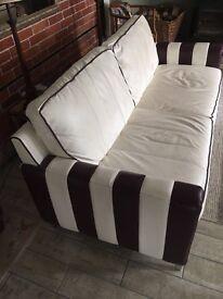 Ivory and Plum Italian leather 3 seater SOFA
