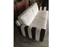 Ivory and Plum Italian leather 3 seater SOFA