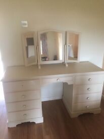 Bespoke cream dressing table with bespoke free standing mirrors and stool
