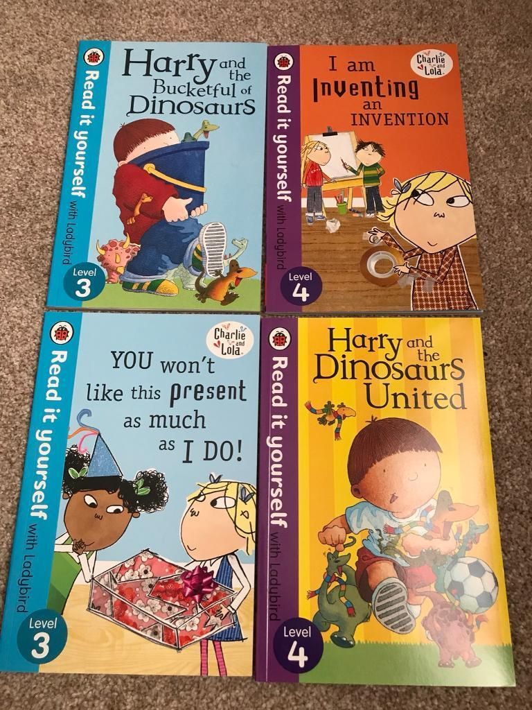 Charlie and Lola & Harry a a bucket full of dinosaurs books x 4 in excellent condition