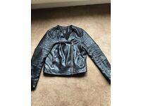 Ladies short black leather jacket from Topshop size 10