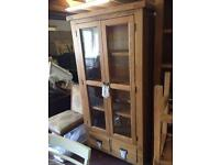 Solid oak glass display cabinet full range available