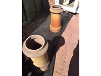 Two decorative victorian chimney pots for the garden.