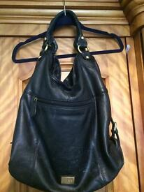 Linea Weekend Large Black Leather Bag