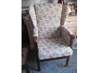 LOVELY WING BACK TAPESTRY ARMCHAIR IN EXCELLENT CONDITION