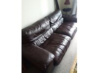 vinyl leather sofa, deep chocolate brown, great condition, so comfortable