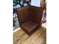 4 x Brown Leather & Solid Wood Retro Box Chairs