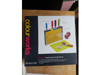 Colourworks 9 piece kitchen sharp cutlery and board set by kitchencraft in original box like new.