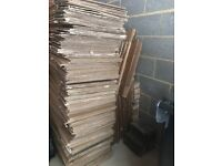 90+ Double walled strong cardboard boxes for sale. Used once. Flattened for transportation.