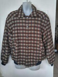 Mens L CALVIN KLEIN Alpaca Wool LARGE Bomber Jacket  42 44 varsity retro plaid brown Vintage