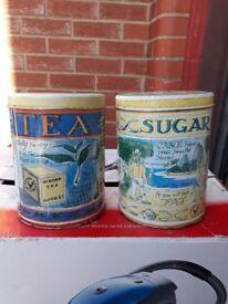 Tea Sugar Cannisters - caddies metal