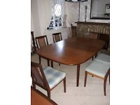 1976 G Plan extendable Teak dining table and 6 chairs