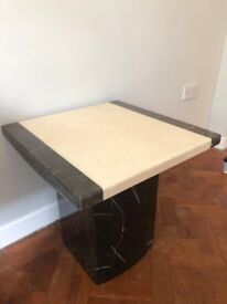 Two solid marble side tables - Black and Grey