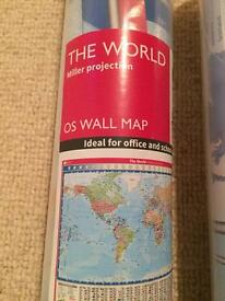 2 OS size maps, brand new! UK and the world.