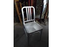 Lightweight Garden Outdoor Chair Sturdy Aluminium Silver Seat